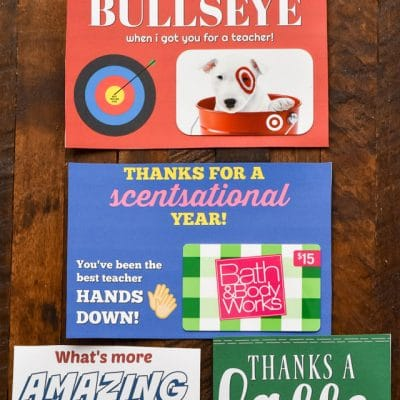 Teacher Appreciation FREE Printable Gift Card Holders