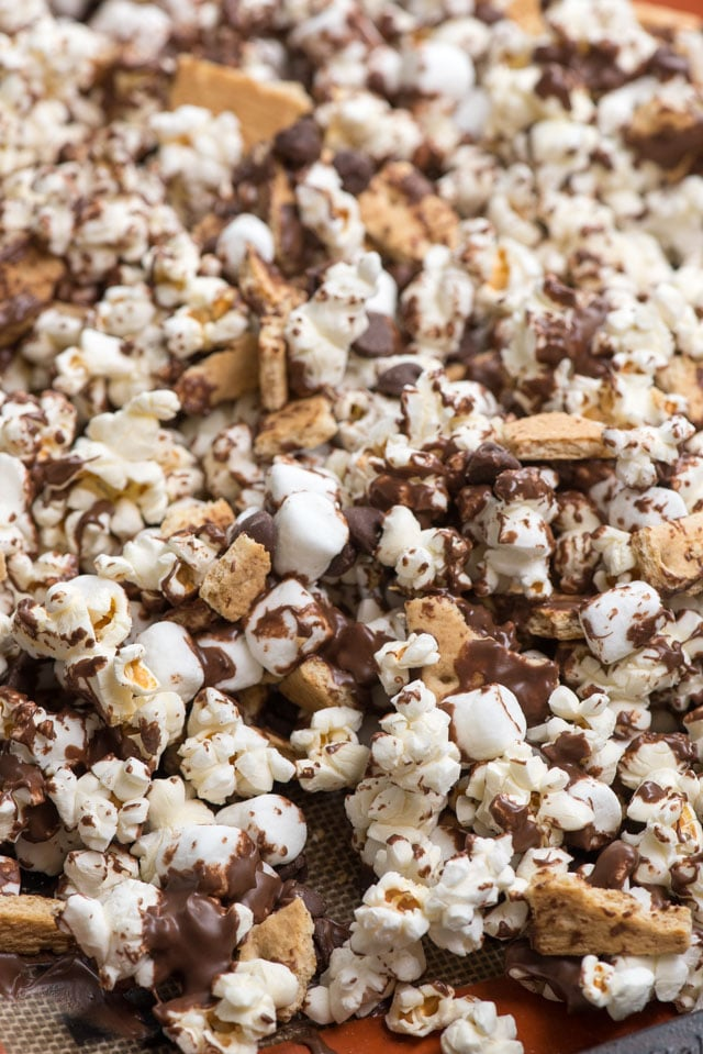 Tray of s'mores popcorn