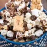s'mores popcorn in blue bowl