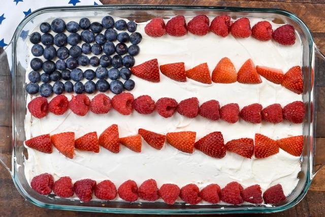 flag cake overhead shot