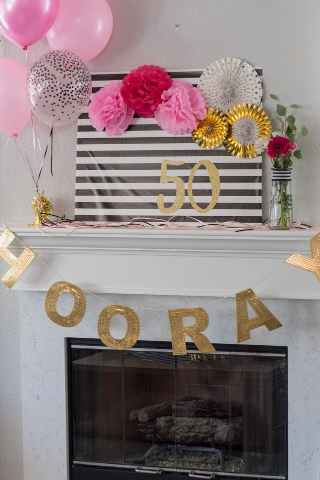 Mantle decorated with Kate spade birthday ideas