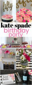 collage of Kate Spade Birthday Party ideas