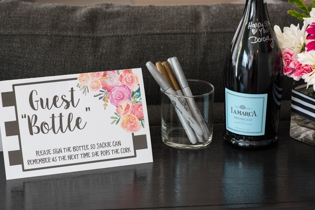 "Kate Spade Birthday Party guest book idea guest ""bottle"""