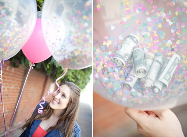 Collate of balloons that are filled with money