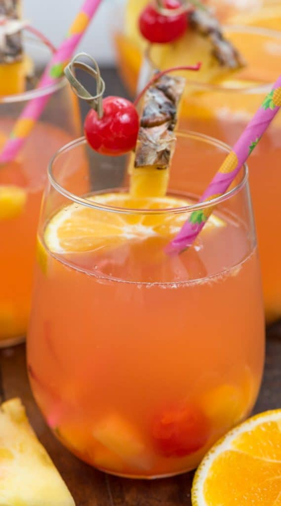 tropical sangria in glass