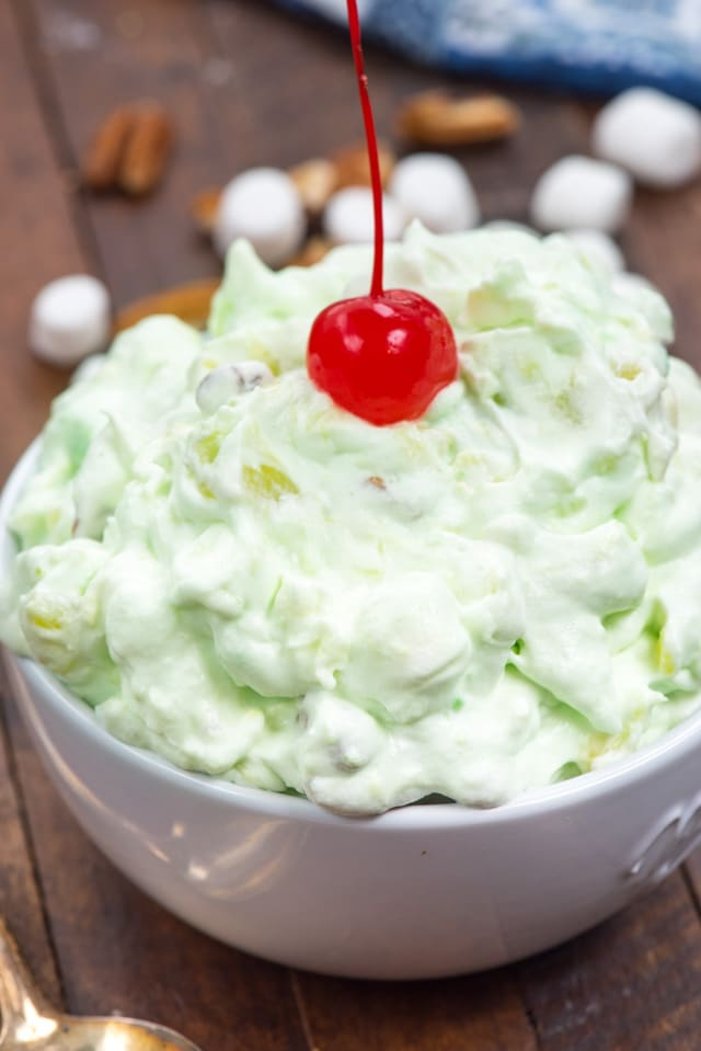 Watergate salad in white bowl