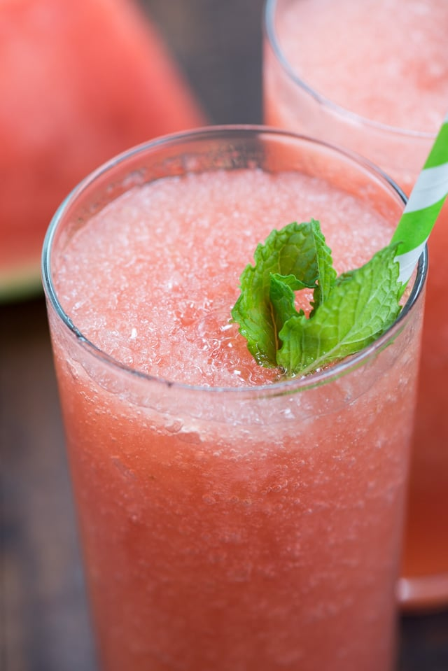 close up of watermelon frosé