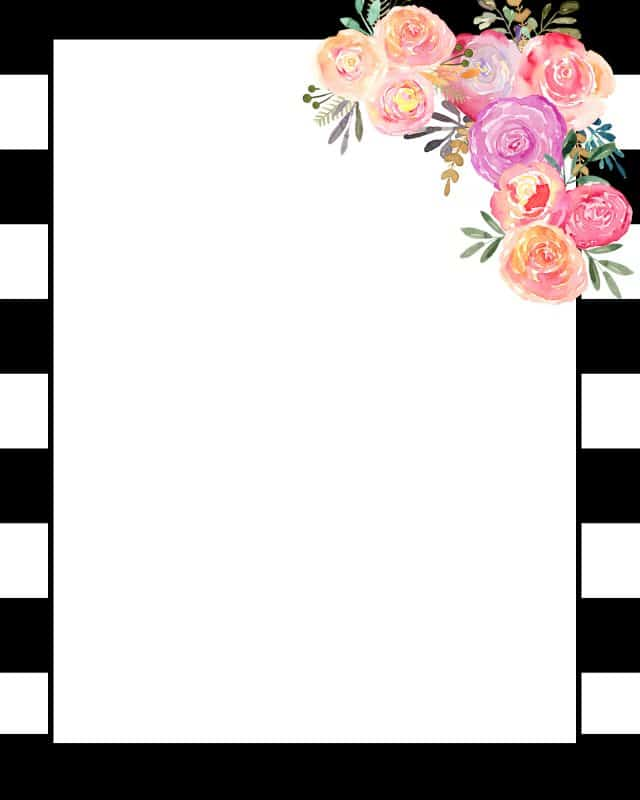 Printable with flowers and a black and white border