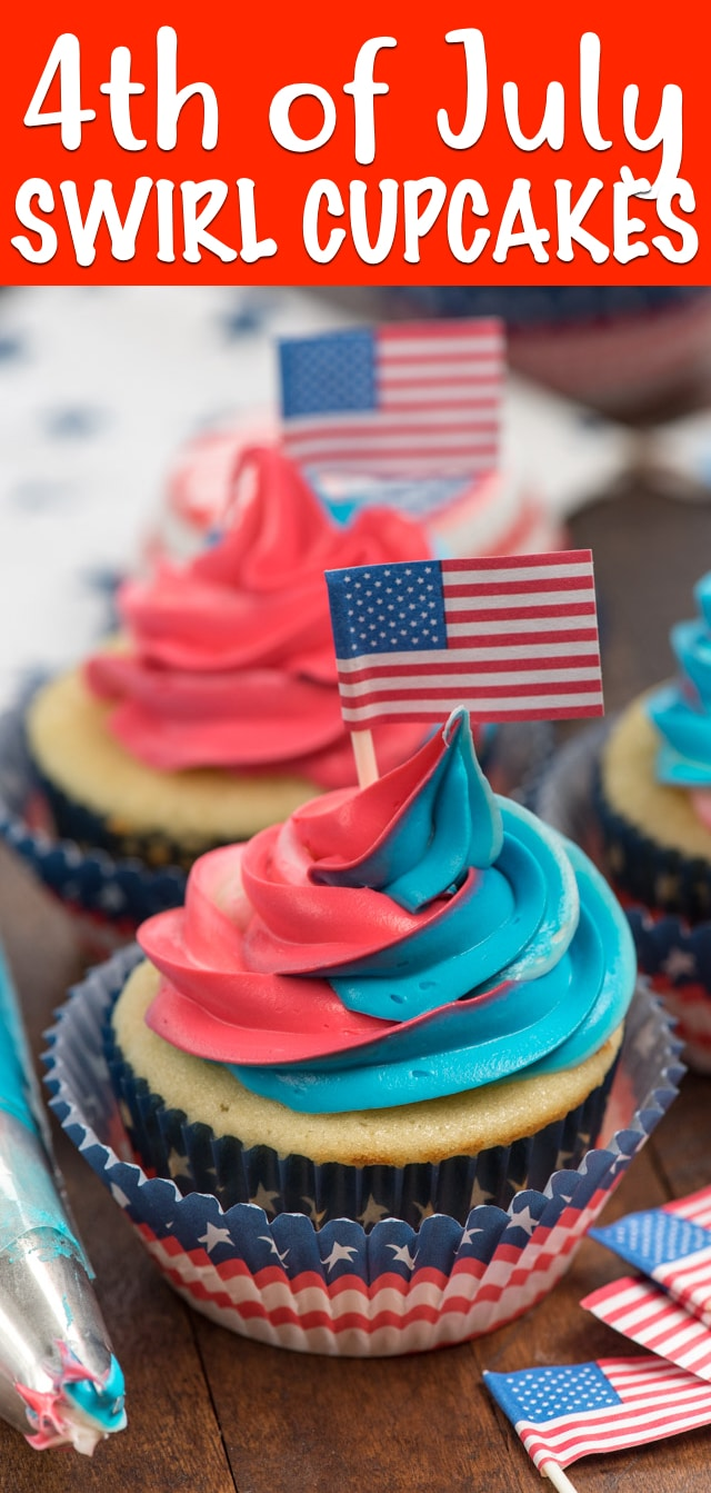 These Swirl Cupcakes are the perfect 4th of July Cupcake! Swirled frosting dresses up a plain vanilla cupcake so easily, the perfect patriotic dessert for the fourth!
