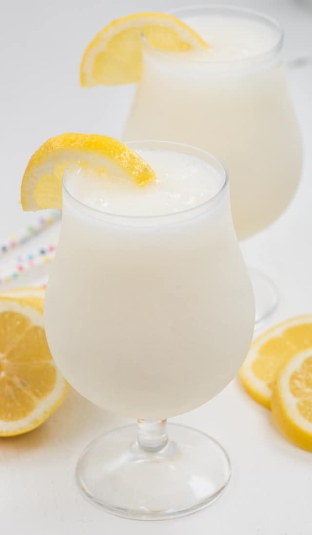 frozen lemonade in two glasses