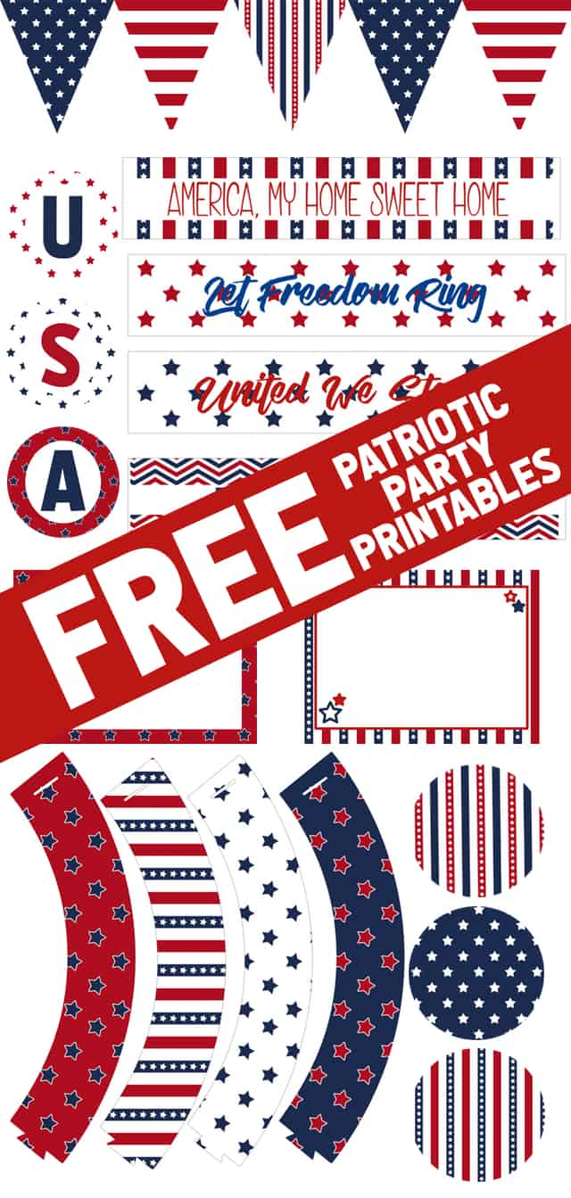 FREE Patriotic Party Printables! This collection has all the printables you need for a 4th of July or Americana party, including water bottle labels, table tents, cupcake liners, and more!
