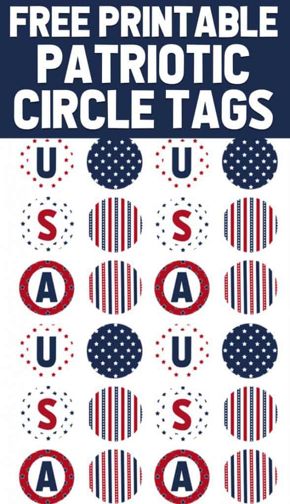 Free printable patriotic circle tags for the 4th of July!