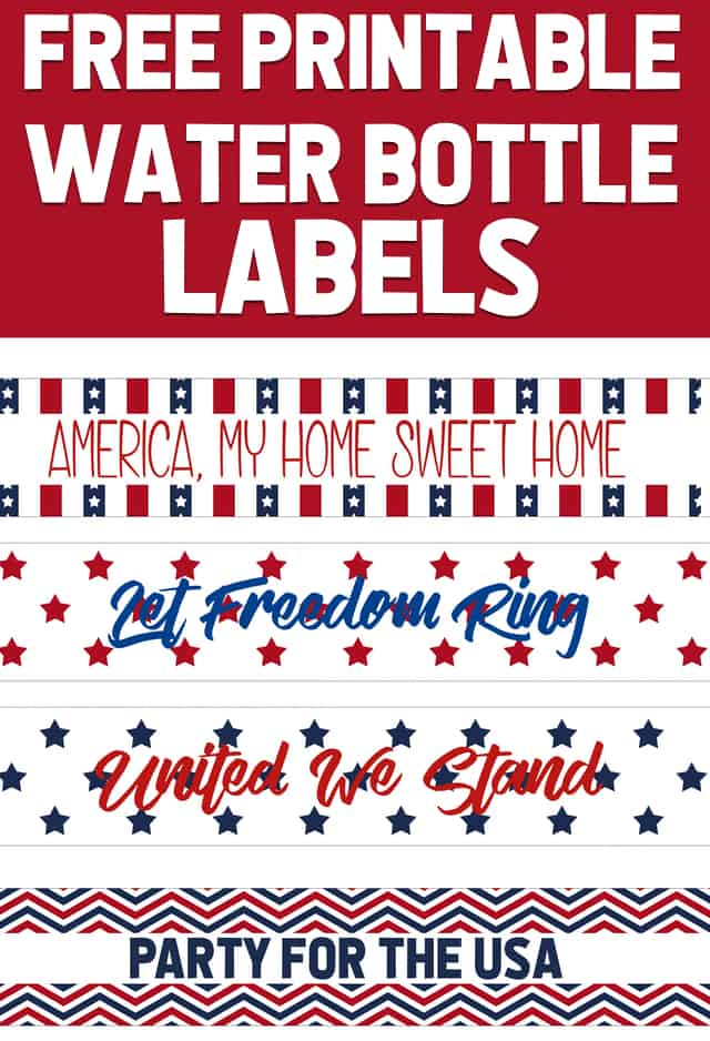picture relating to Free Printable Water Bottle Labels titled No cost Patriotic Get together Printables Very simple Very good Guidelines