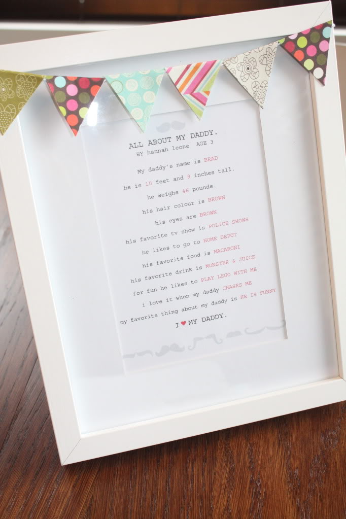 "a framed letter that says ""all about my Daddy"" and it has a banner across the top that is cut out of different fabrics"