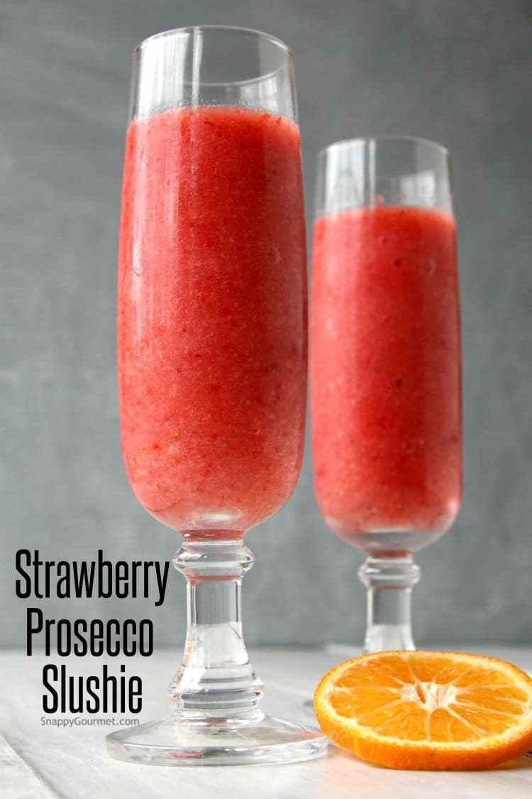 2 Strawberry Prosecco Slushies in short stemmed glasses