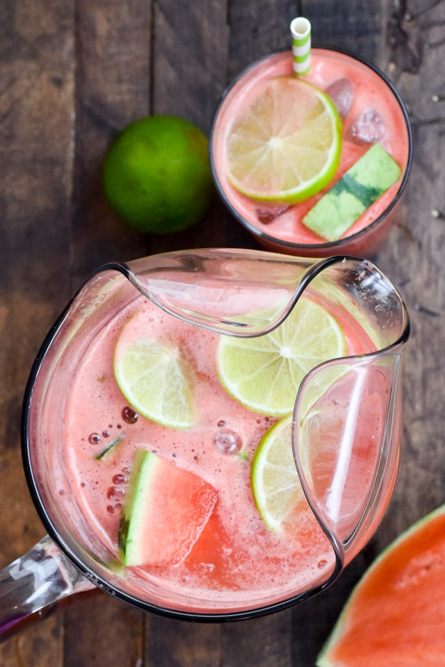 overhead shot of watermelon party punch