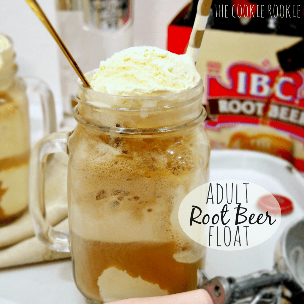 Adult Root Beer Float in a jar glass with ice cream on top