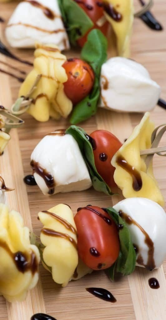 Tortellini caprese skewers with balsamic glaze