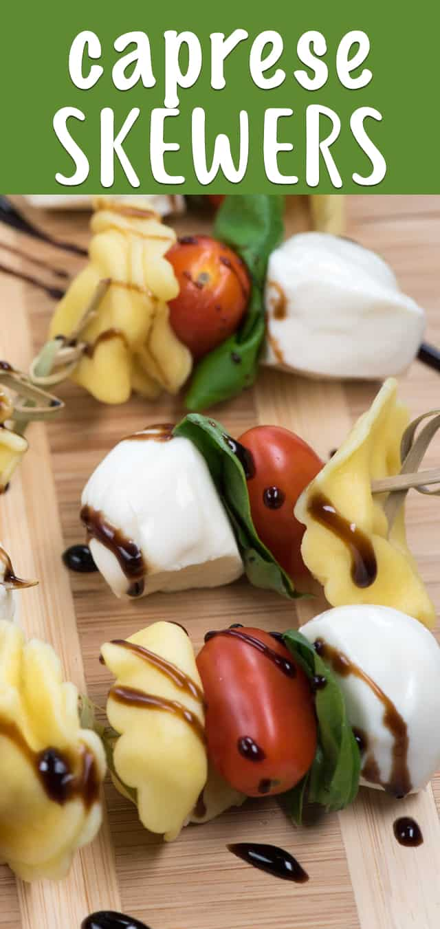 These easy Tortellini Caprese Skewers have a balsamic glaze and are a perfect appetizer! They're made with tortellini, tomatoes, mozzarella and basil!