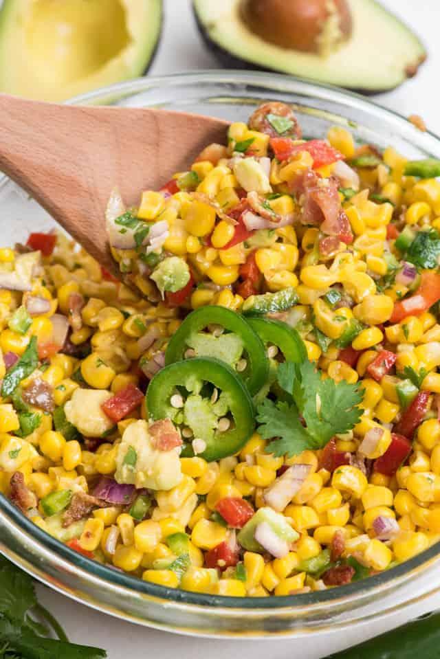 spoon of corn salad