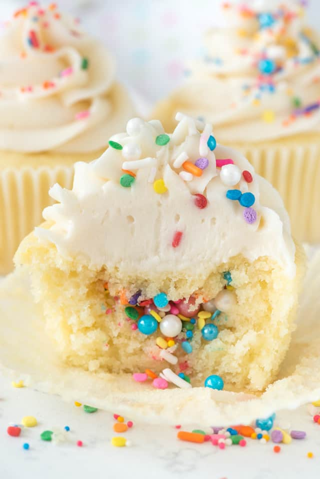 inside of piñata cupcake