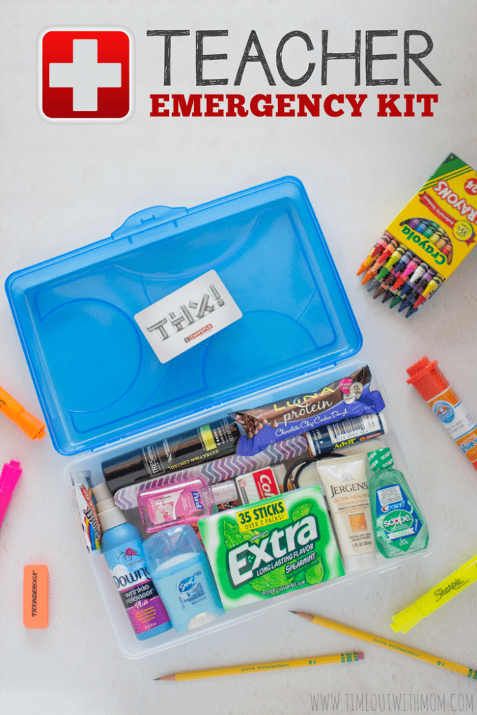 a plastic container filled with lot's of little containers and it is an emergency kit gift for a teacher