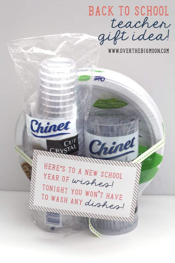 plastic glasses and paper plates with a saying wrapped around them