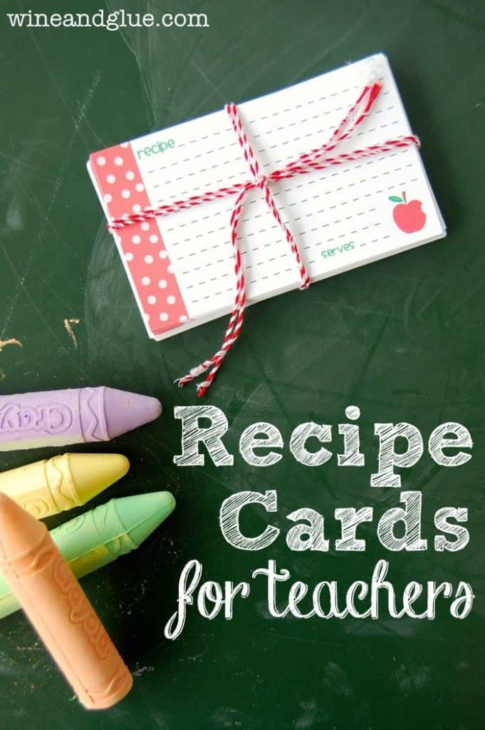 recipe cards tied with a red and white string with writing