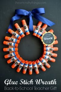 a wreath made out of glue sticks
