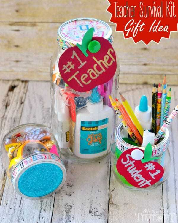 jars decorated for teachers and they hold school supplies like pencils and glue