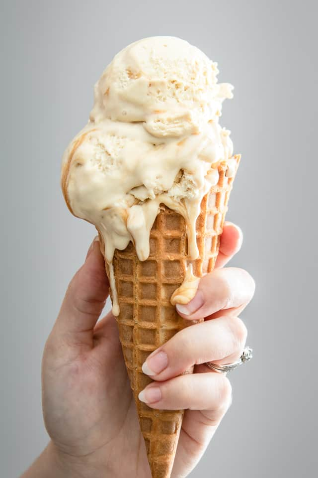caramel ice cream in cone