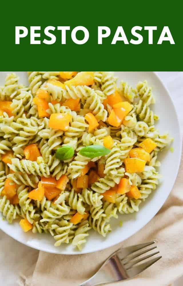 Make this easy pesto pasta recipe for lunch or dinner today! It's such an easy pasta recipe that everyone will love, and is the perfect 30 minute meal! #easyrecipe #pestopasta #easydinnerrecipe #easylunchrecipe