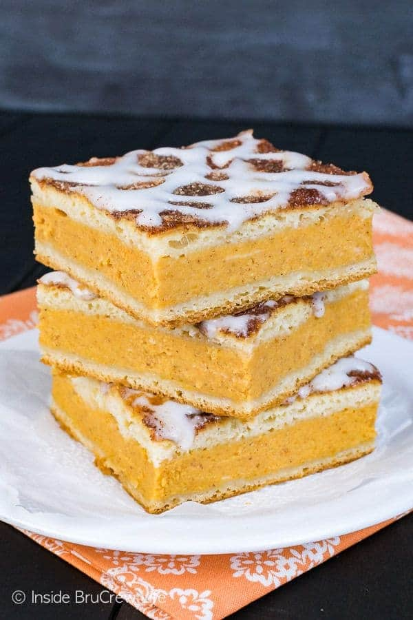 stack of Churro Pumpkin Pie Cheesecake Danish on a white plate