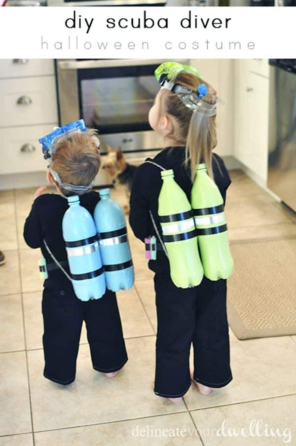 boy and girl dressed as scuba divers