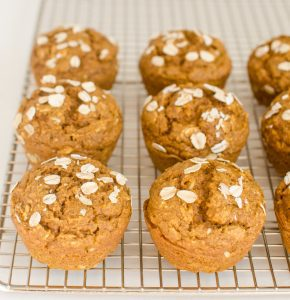 Healthy Pumpkin Muffins on a wire rack