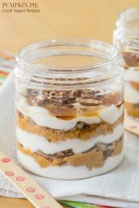 Pumpkin Pie Greek Yogurt Parfait in a glass jar