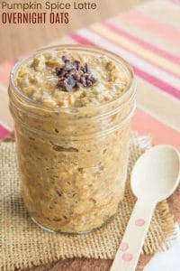 Pumpkin Spice Latte Overnight Oats in a jar with a spoon next to it