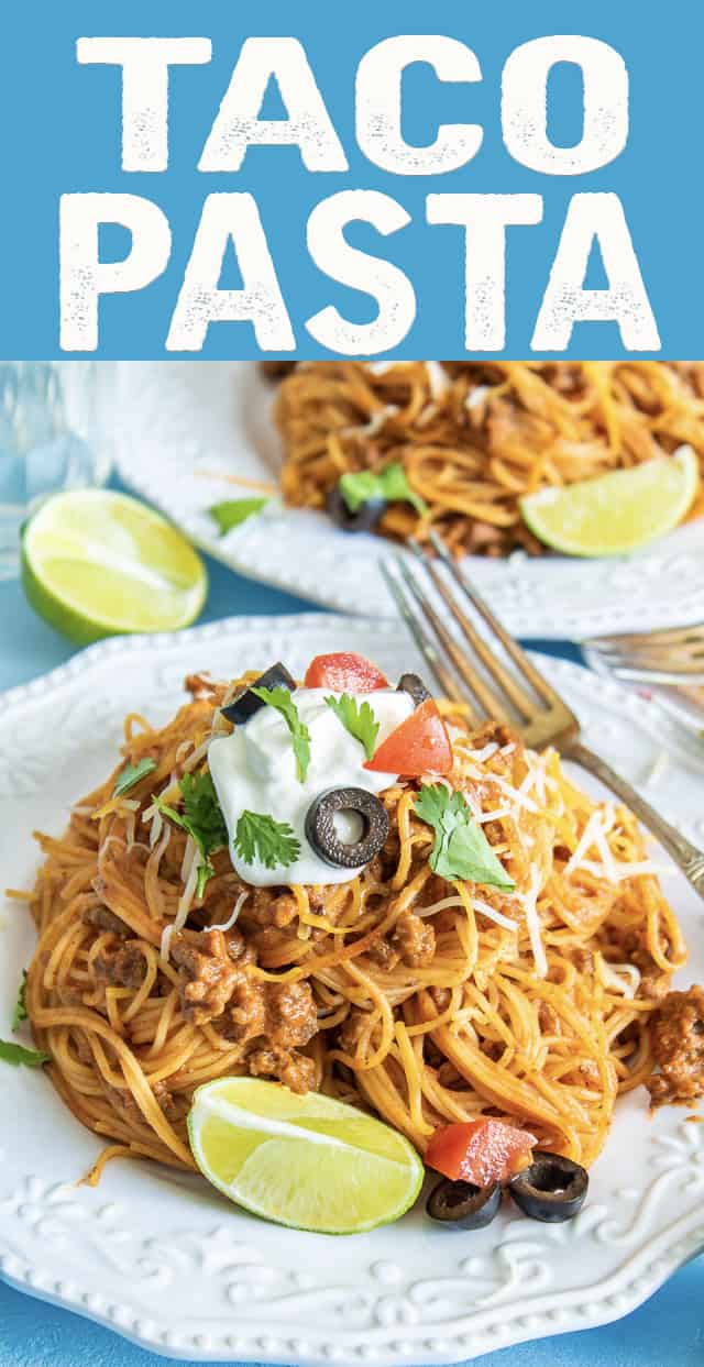 Taco pasta is an extremely easy weeknight dinner idea that is ready in under 30 minutes!