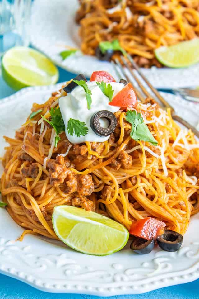 taco pasta close up