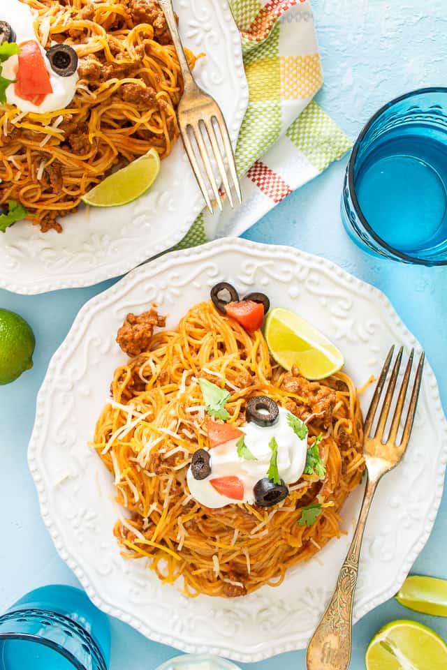 taco pasta flat lay