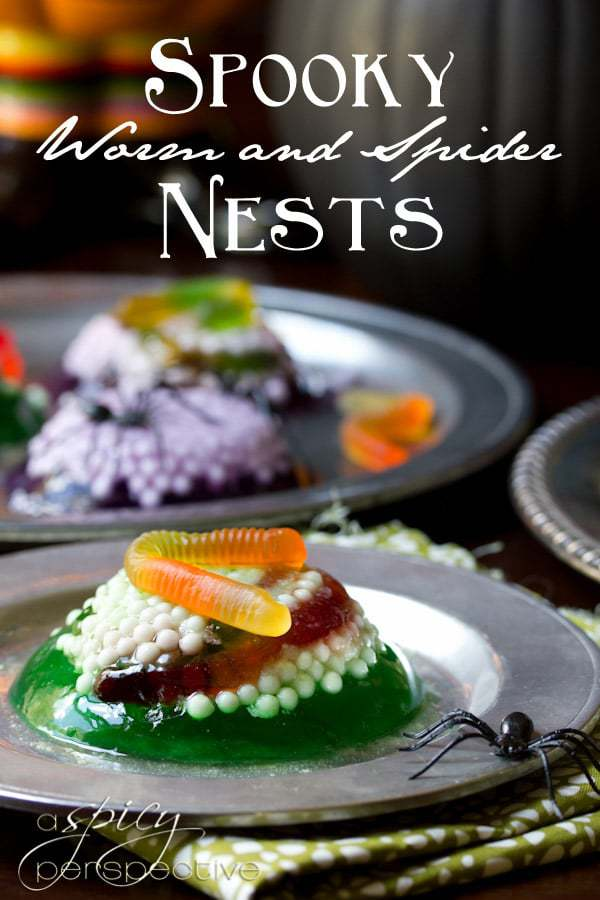 Spooky Worms and Spider Nests jello on a sliver plater