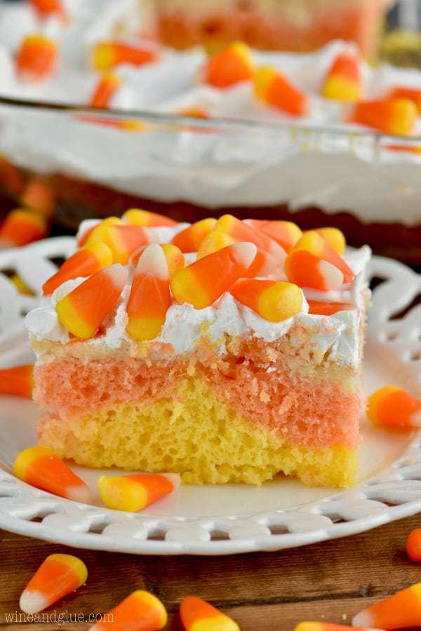 corn cake poke cake on a white platter