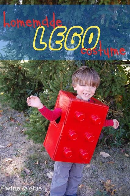 boy wearing a lego costume
