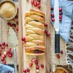 Cranberry Orange Braid on a cutting board
