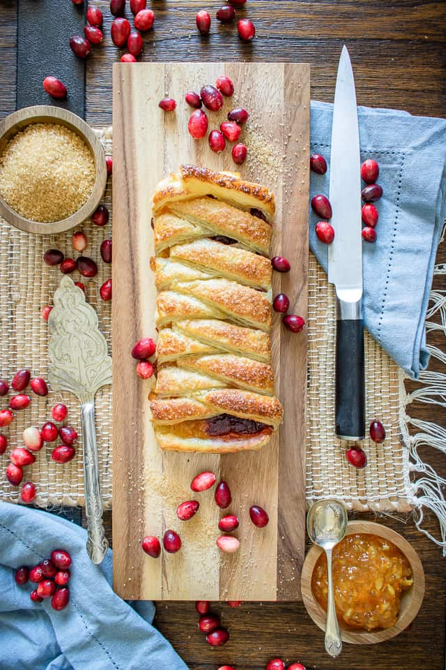 Cranberry Orange Braid on cutting board