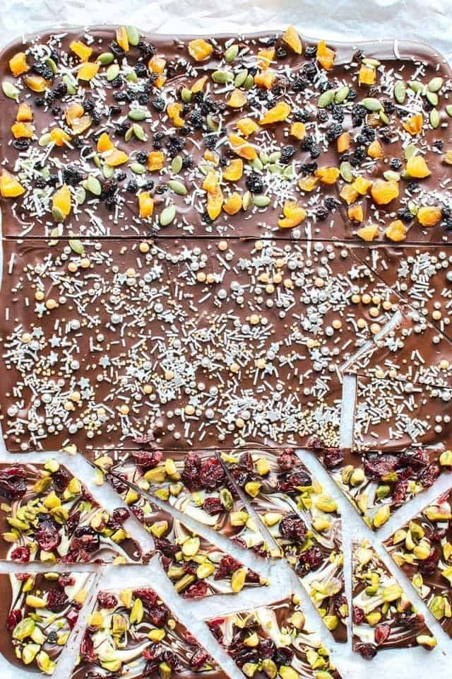 Chocolate bark with various toppings half cut