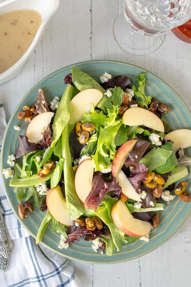 an overhead shot of fall salad with maple vinaigrette