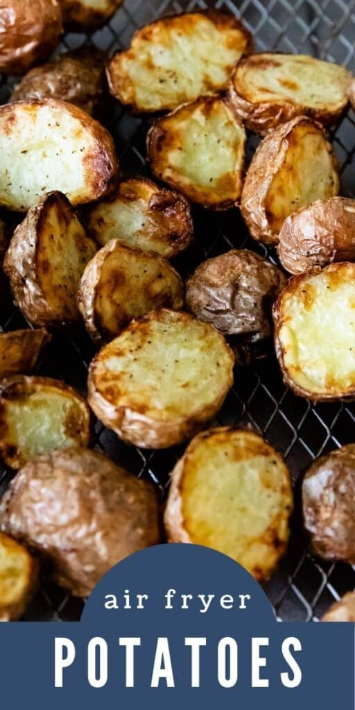 Healthy air fryer potatoes on a wire rack with writing