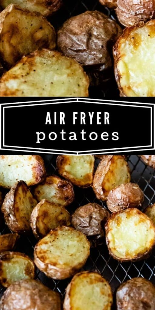 Crispy air fryer potatoes on a wire rack with writing
