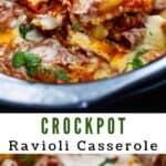 Crockpot ravioli casserole collage